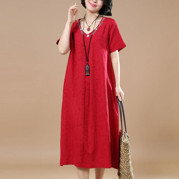 Ethnic Summer Jacquard Short Sleeves Red Dress - Buykud