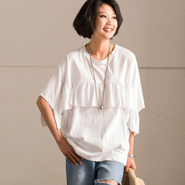 Splicing Flounced Women Loose Casual Cotton Summer White Shirt