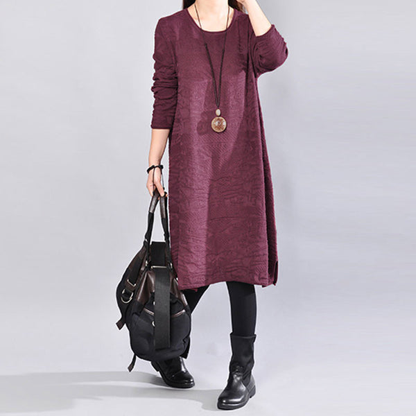 Women Solid Wine Red Casual Long Sleeve Side Slit Sweater Dress