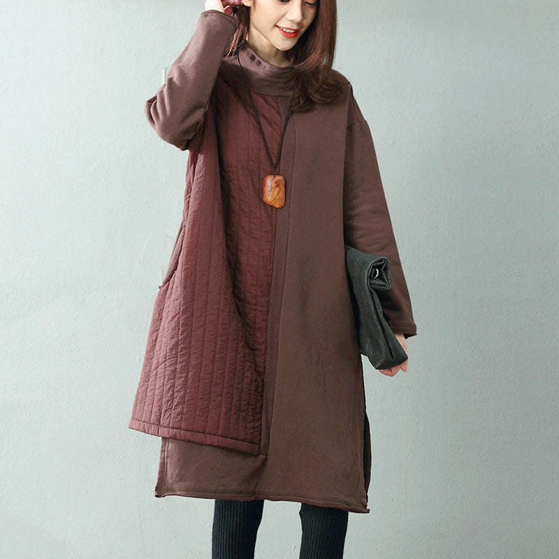 Women Loose Thickening irregular Stitching Dress