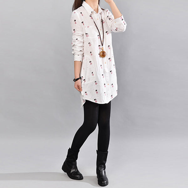 Cotton Irregular Floral Women Loose Pocket Red Shirt - Buykud