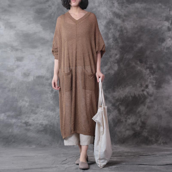 Linen Loose Women Shoulder Sleeves Coffee Dress