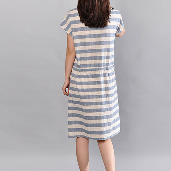 Stripe Women Loose Cotton Summer Pocket Blue Dress - Buykud