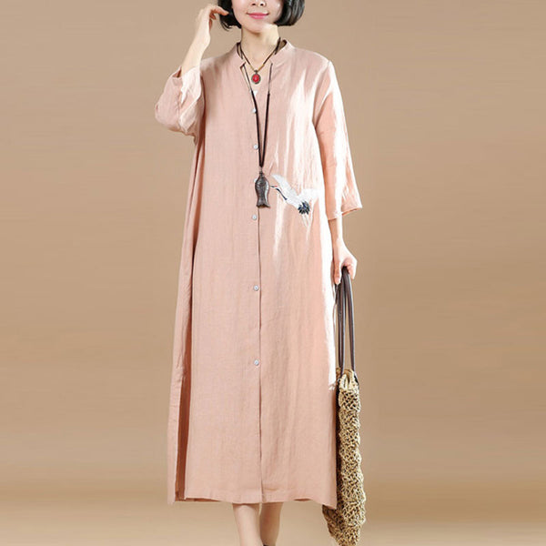 Women Loose Embroidered Casual Linen Irregular Pink Dress - Buykud