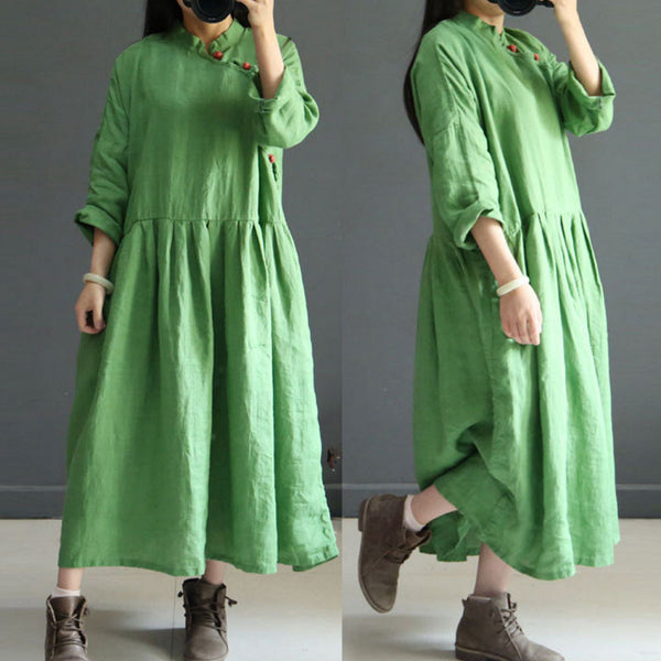 Retro Frog Loose Linen Women Green Dress