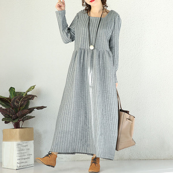 Winter Loose Vertical Stripes High Waist Light Grey Dress - Buykud