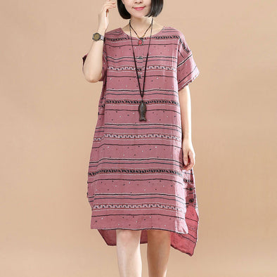 Summer Women Literature Stripe Button Loose Short Sleeve Red Dress - Buykud