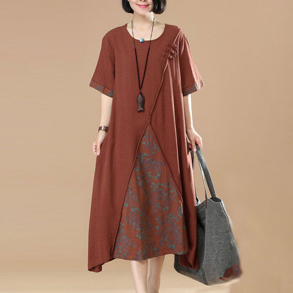 Women Irregular Splicing Floral Pocket Frog Brown Dress