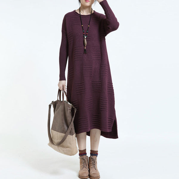 Casual Loose Large Size Sweater  Purple Dress