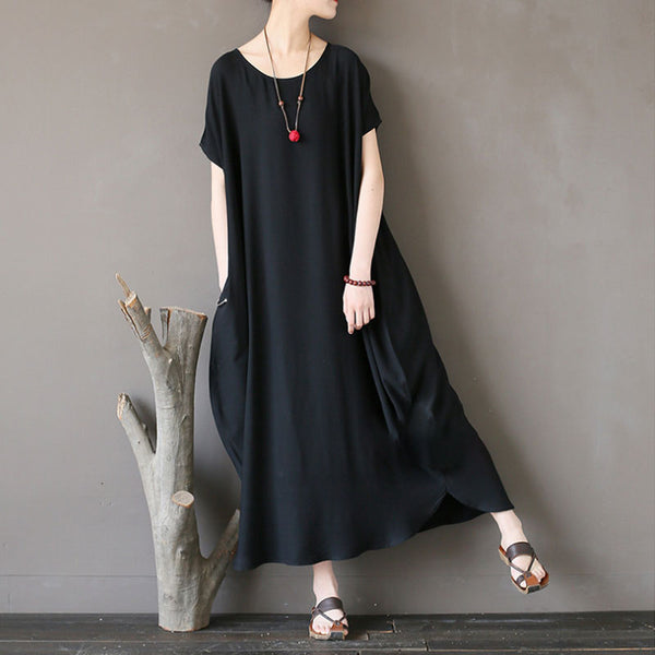 Women Cotton Short Sleeve Plain Black Loose Dress