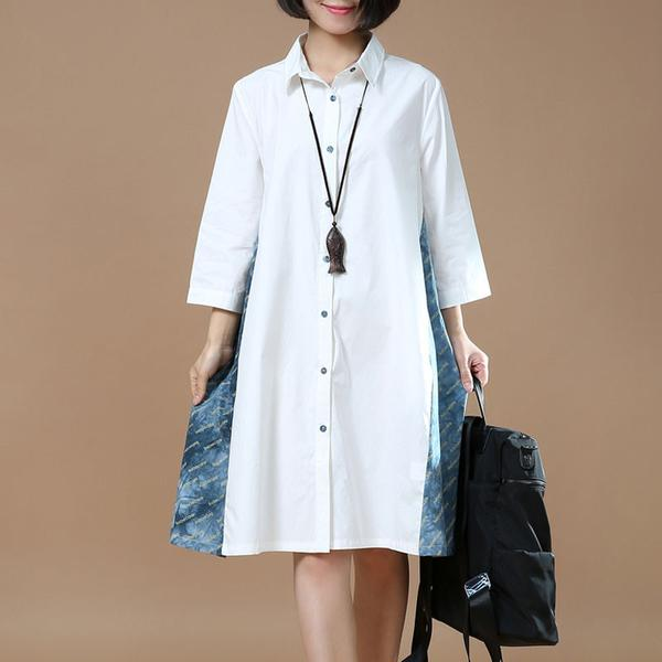 Loose Women Casual Cotton Single Breasted Shirt Dress