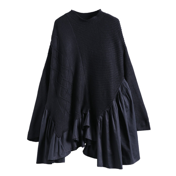 Buykud Casual Stitching Ruffled Fake Two-piece Sweater