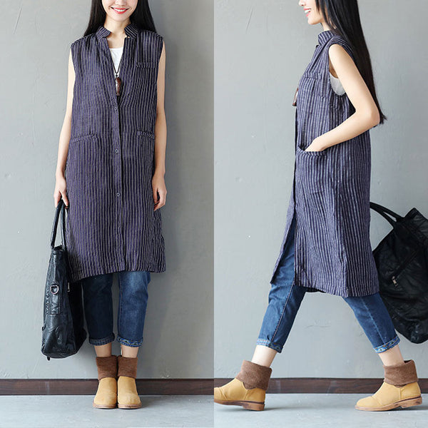 Cotton Women Linen Loose Stripe Casual Blue Shirt