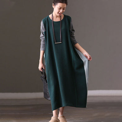 Loose Round Neck Long Sleeve Casual Splicing Dress - Buykud