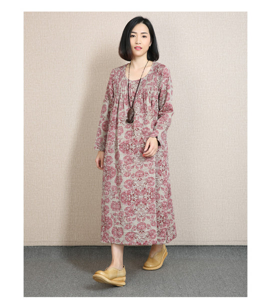 Women Print Cotton Linen Loose Fitting Long Sleeve Spring And Autumn Dress