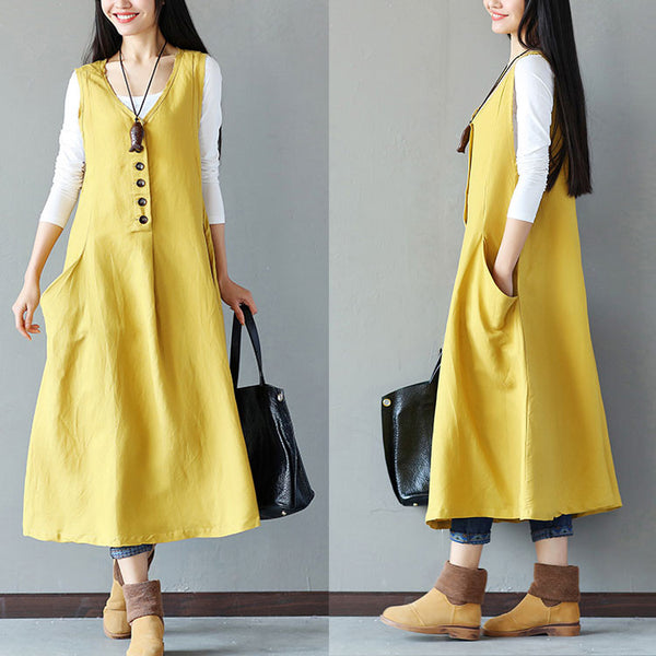 Summer Causal Button Splicing Pocket Yellow Vest