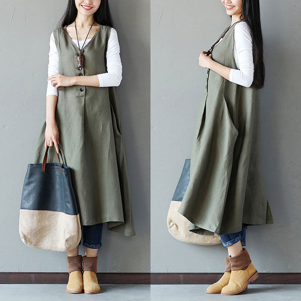 Summer Causal Button Splicing Pocket Green Vest
