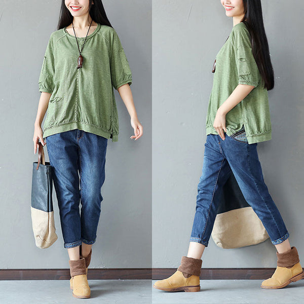 Cotton Splicing Loose Women Casual Splitting Green Shirt