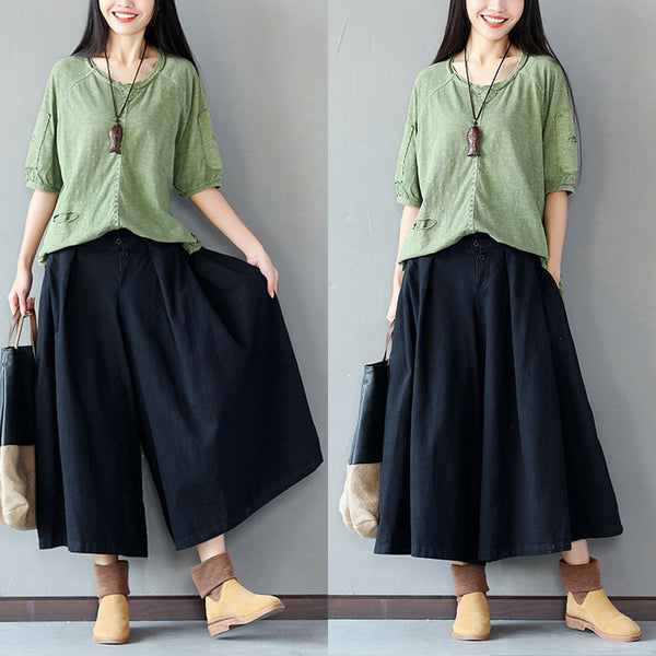 Women Folded Loose Black Wide Leg Pants