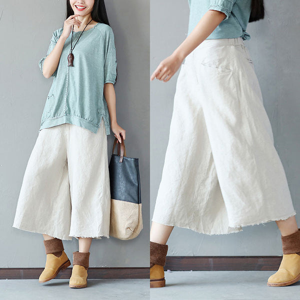 Loose Casual Women Leg Beige Wide Pants