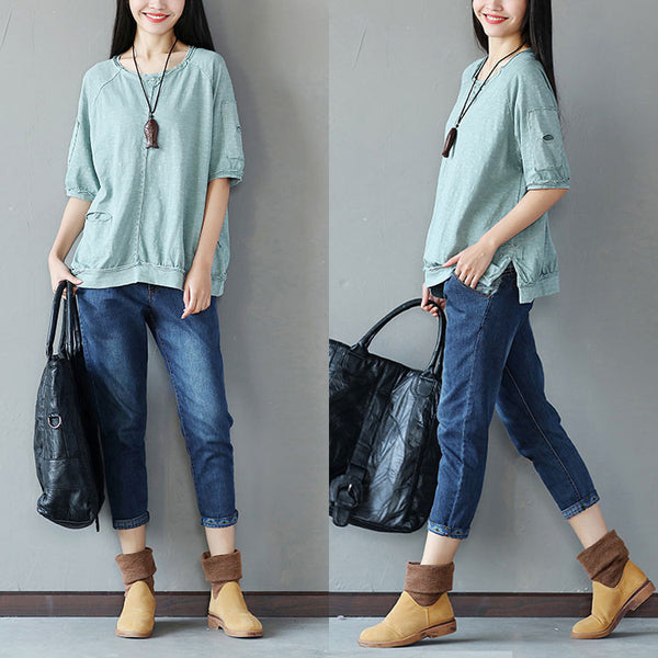 Cotton Splicing Loose Women Casual Splitting Blue Shirt