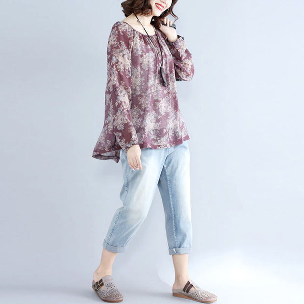 Retro Floral Printed Women Long Sleeve Purple Red Shirt - Buykud