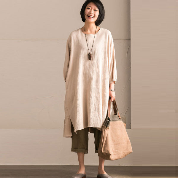 Linen Round Neck Fold Bat Sleeves Beige Dress
