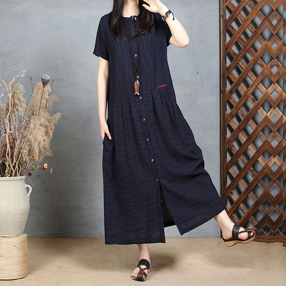 Linen Cotton Summer Women Loose Retro Folded Splicing Red Dress - Buykud
