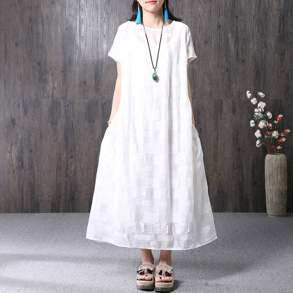 Splicing Summer Loose Women Casual Cotton White Dress