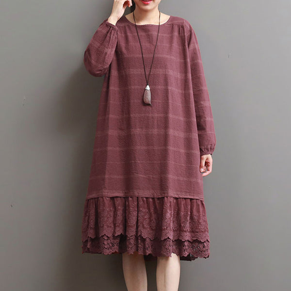 Women Stripe Casual Cotton Linen Splicing Red Dress