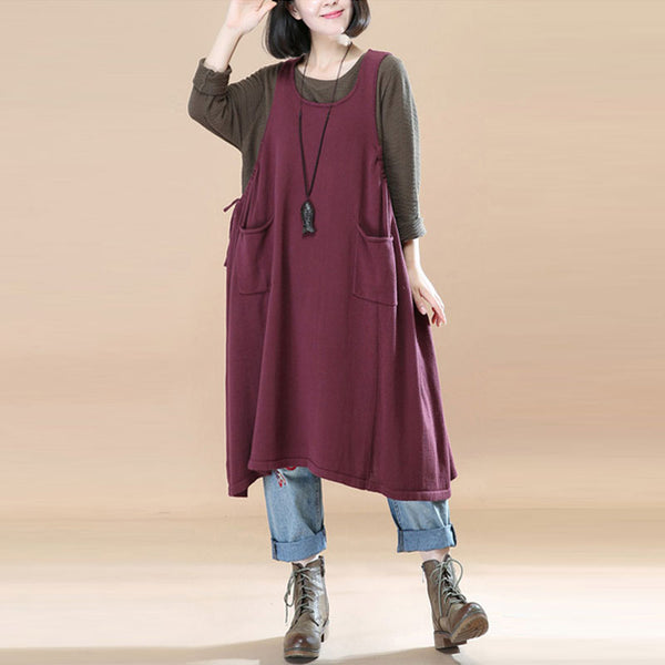 Women Wine Red Pockets Pleated Lacing Vest Dress - Buykud