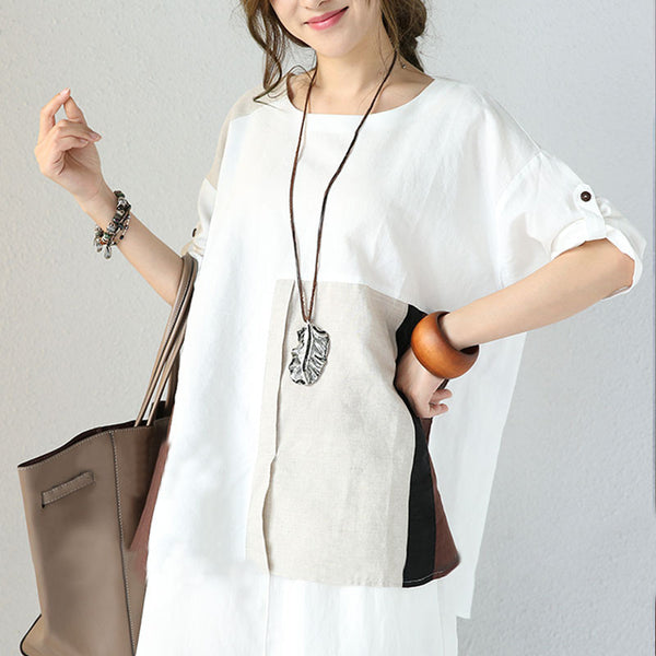 Linen Round Neck Casual Loose Splicing White Shirt