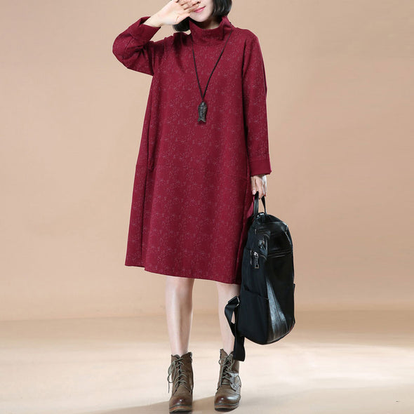 Retro Thick Turtle Neck Long Sleeves Red Winter Women Dress - Buykud