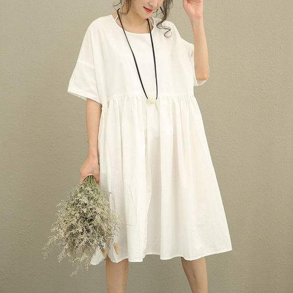 Summer Women Literature Solid Pleated Short Sleeve White Dress - Buykud