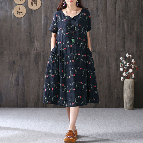 Summer Women V Neck Literature Short Sleeve Navy Blue Dress - Buykud