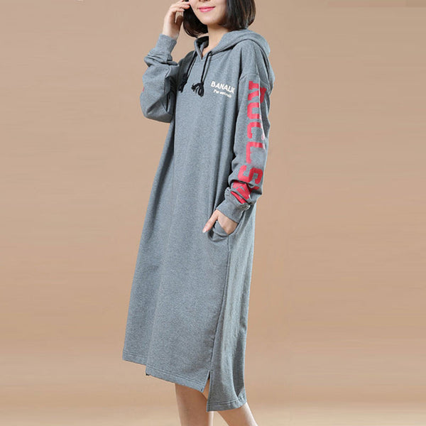 Spring Casual Loose Hooded Gray Long Pullover Dress