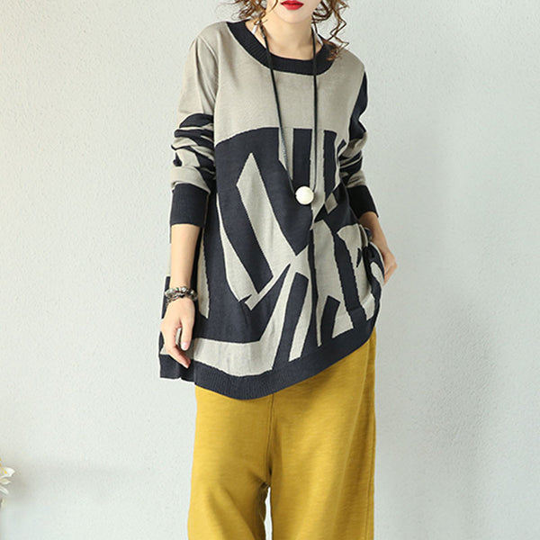 Wool Geometric Irregular Sweaters