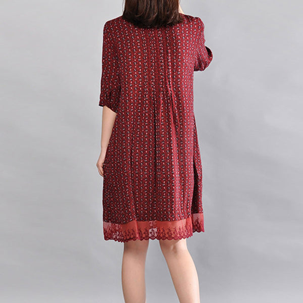 Floral Loose Women Pocket Red Dress - Buykud