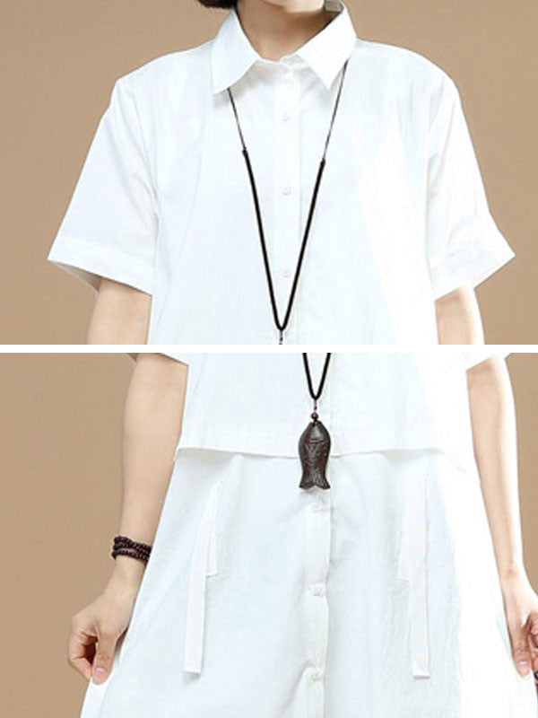 Summer Short Sleeves Women Irregular Lacing White Dress - Buykud