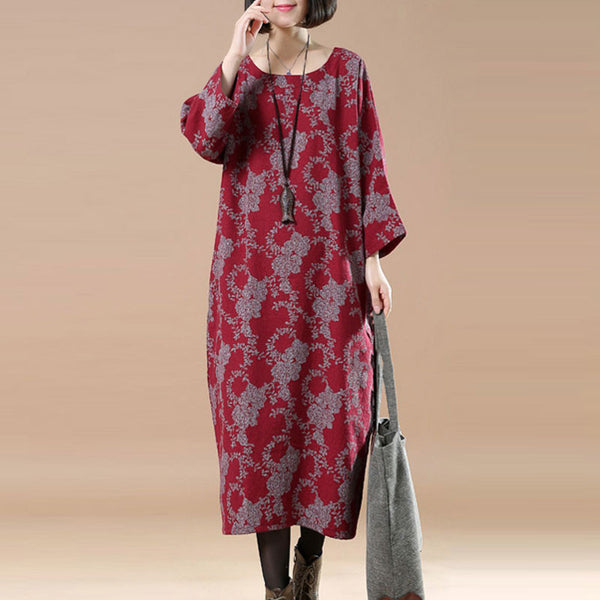 Retro Spring Linen Printing Round Neck Wine Red Dress