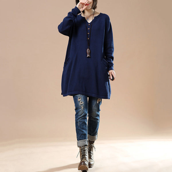Navy Blue Women Autumn Loose Long Sleeve Sweater