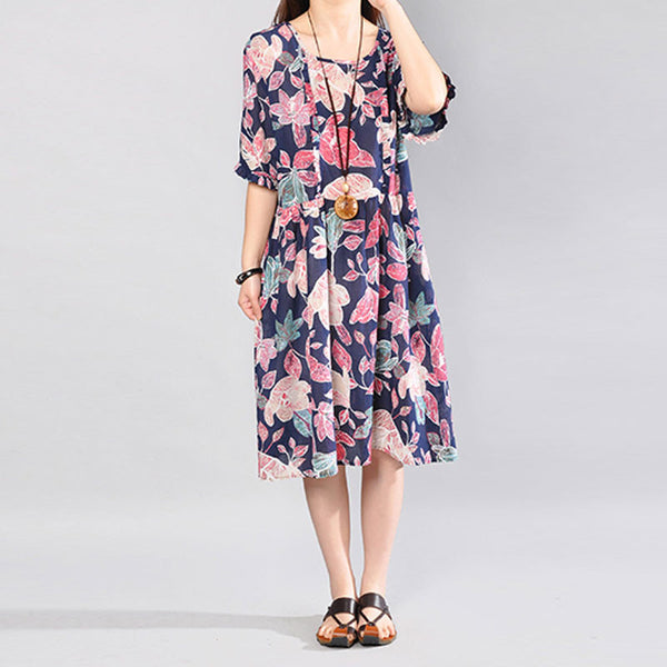 Printing Loose Round Neck Short Sleeve Women Navy Blue Dress