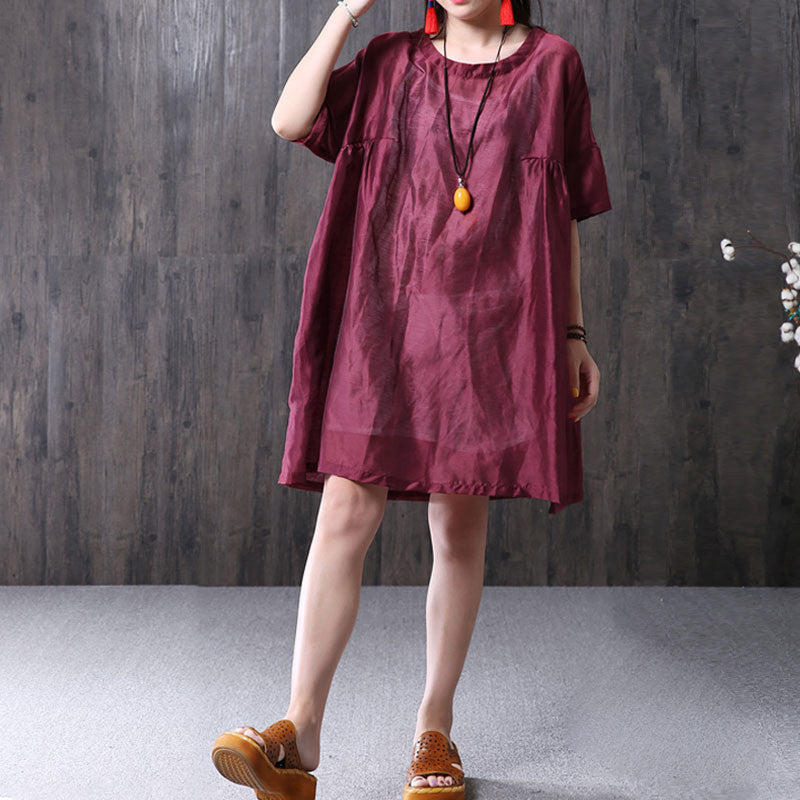 Retro Folded Women Loose Casual Summer Silk Cotton Red Dress - Buykud