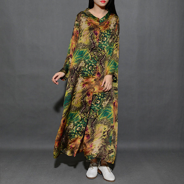 Spring Printing V Neck Silk Green Long Shirt