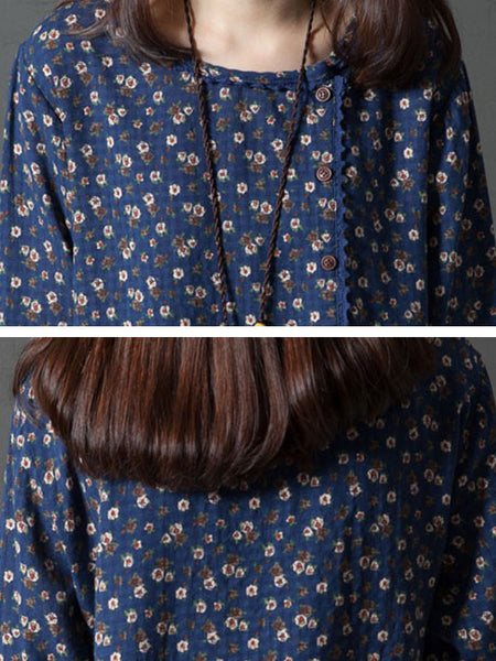 Loose Pocket Round Neck Floral Blue Dress