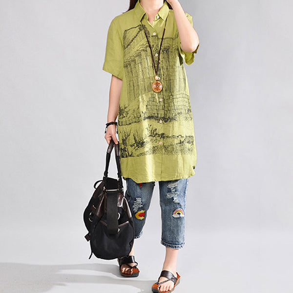 Summer Women Loose Casual  Short Sleeves Green Shirt Dress