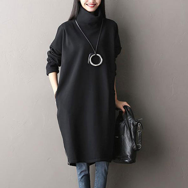 Black 100% Cotton Thicken Dress