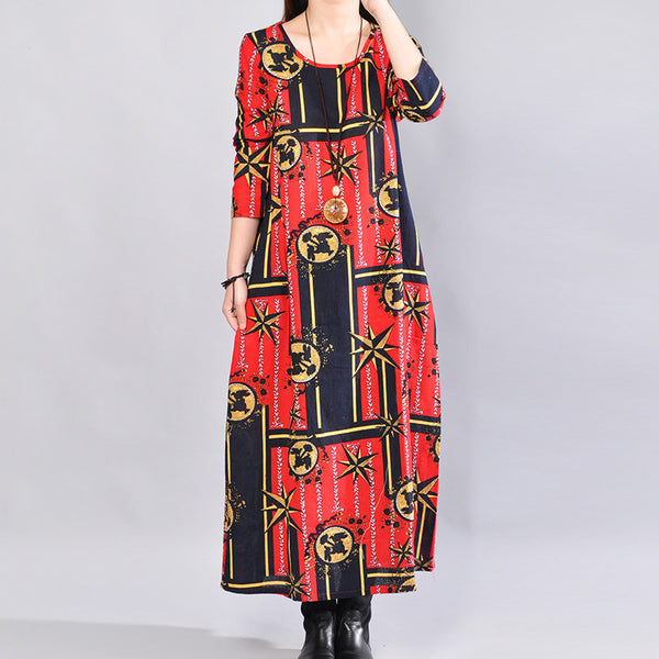 Casual Loose Printing Cotton Mixed Color Long Sleeves Red Dress