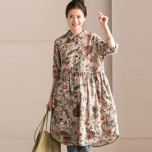 Cotton Women Loose Floral Casual Beige Dress - Buykud