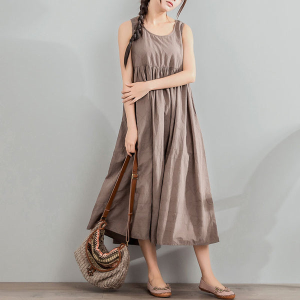 Jacquard Loose Summer Women Cotton Linen Light Coffee Sleeveless Dress